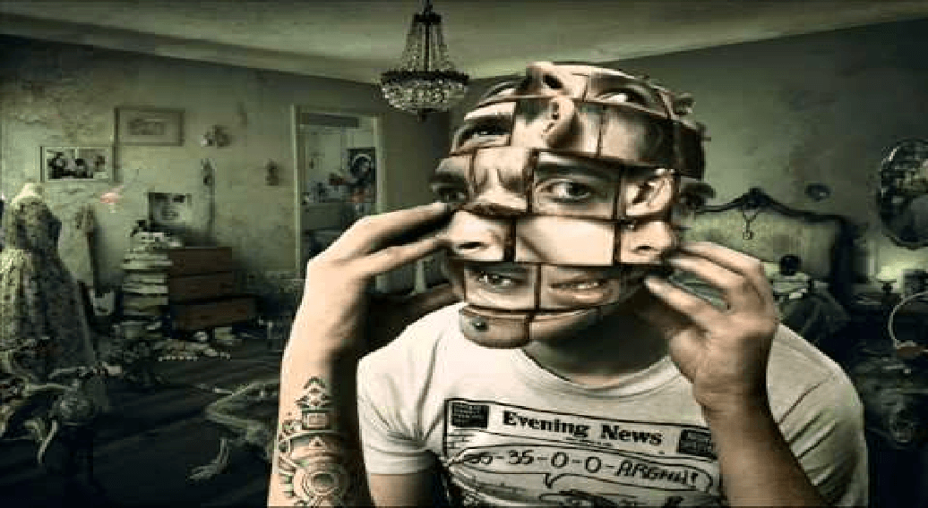 Trippy face image